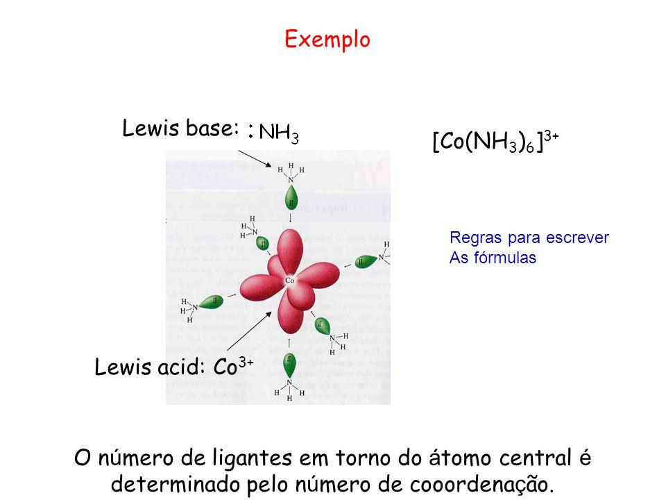 Exemplo Lewis base: [Co(NH3)6]3+ Lewis acid: Co3+
